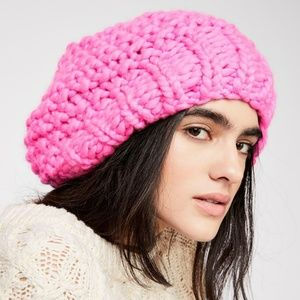 Free People Loopy Mango Hot Pink NWT Knit Hat